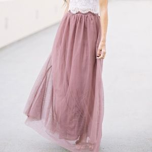 Tulle Maxi Skirt - Anabelle Mauvge